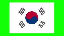 South Korean flag animation on green screen background, chroma key, loopable