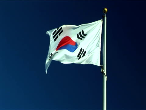 ms, south korean flag flapping against clear sky - south korean flag stock videos & royalty-free footage