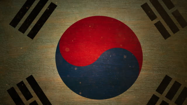 south korean flag - grunge. 4k - korean war stock videos & royalty-free footage