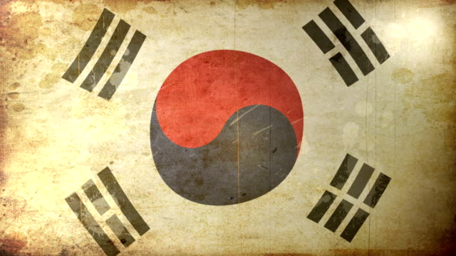 south korean flag - grunge. hd - south korean flag stock videos & royalty-free footage