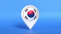 South Korean Flag in a White Map Pointer on Blue Background Loop Ready in 4K Resolution