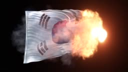 South Korean Flag is Appearing into The Flames and Waves on Black Background in 4K Resolution