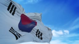 South Korean Flag is Waving Slowly Against Blue Sky in 4K Resolution