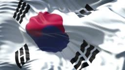 South Korean Flag is Waving Slowly in Full Screen 4K Resolution