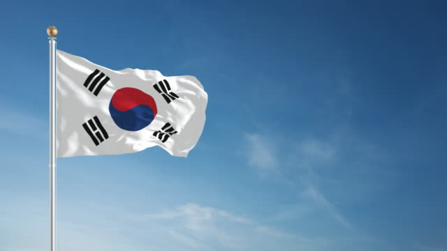 4k south korean flag - loopable - south korea stock videos & royalty-free footage