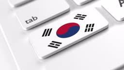 South Korean Flag on a Keyboard Button Click with Selective Focus in 4K Resolution