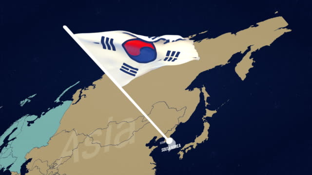 south korean flag on map - south korean flag stock videos & royalty-free footage