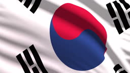 South Korean flag waving in the wind with highly detailed fabric texture. Seamless loop