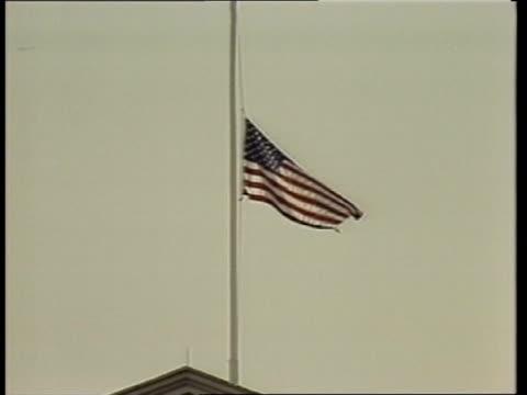 us reaction c c4n usa washington flag flying at halfmast on white house pull - 1983 stock videos & royalty-free footage