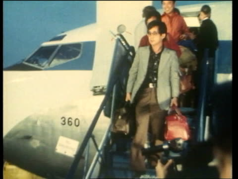 south korean jumbo jet 747 disappearance finland helsinki ms survivors down plane steps and greeted - 1983 stock videos & royalty-free footage