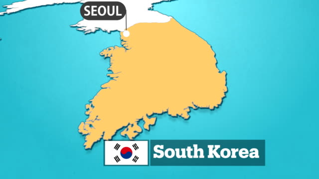 south korean map with flag - south korean flag stock videos & royalty-free footage