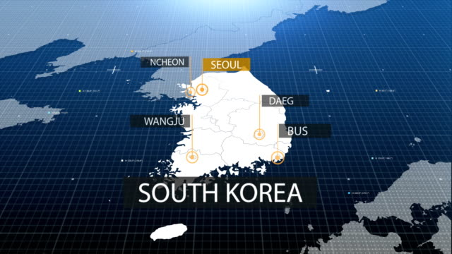 south korean map with label then with out label - south korea stock videos & royalty-free footage