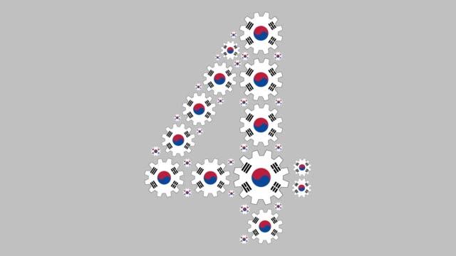vídeos de stock e filmes b-roll de south korean number four - número 4
