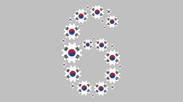 vídeos de stock e filmes b-roll de south korean number six - número 6
