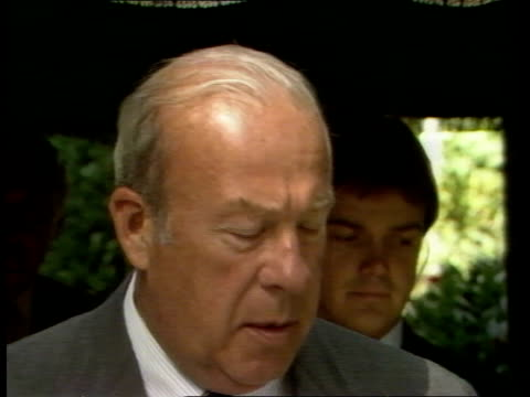 south korean plane shot down madrid sec of state george shultz out of car pan walks up walkway to conference building ms pan shultz and aides from... - 1983 stock videos & royalty-free footage