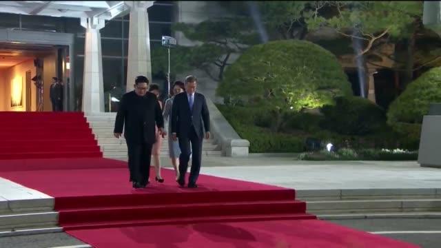south korean president moon jaein first lady kim jungsook and north korean leader kim jongun and north korean first lady ri sol ju attend the... - 北朝鮮点の映像素材/bロール