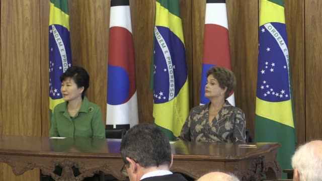 south korean president park geun hye meets brazilian counterpart dilma rousseff on a state visit in brasilia - diplomacy stock videos and b-roll footage
