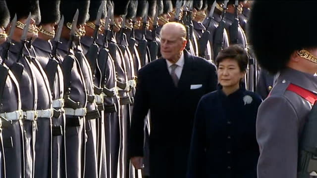 south korean president park geunhye state visit horse guards parade ceremonial welcome various of park geunhye accompanied by prince philip... - horse guards parade stock videos and b-roll footage