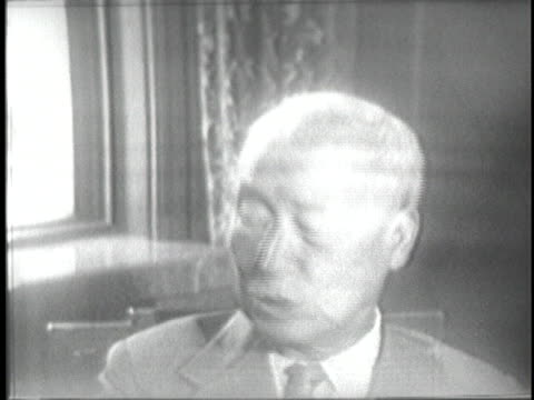 south korean president syngman rhee states that a cease fire in the korean war is impossible under the current circumstances, as his secretary takes... - (war or terrorism or election or government or illness or news event or speech or politics or politician or conflict or military or extreme weather or business or economy) and not usa stock videos & royalty-free footage
