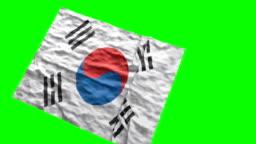 South Korean stadium flag. Waving on green screen