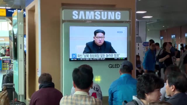 south koreans give their take on north korean leader kim jong un saying he will halt nuclear tests and intercontinental missile launches - nuclear missile launch stock videos & royalty-free footage