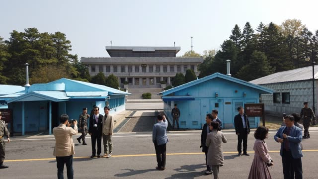 south koreans tour the truce village of panmunjom inside the demilitarized zone separating the south and north korea on may 01 2019 in panmunjom... - security code stock videos and b-roll footage