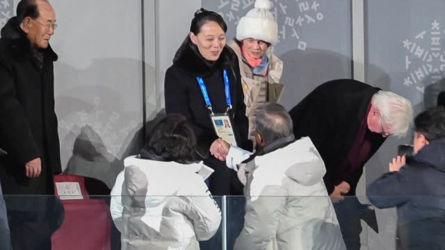 South Korea's president shares a historic handshake with Kim Jong Un's sister as the Pyeongchang Winter Olympics opens in a spirit of intense...