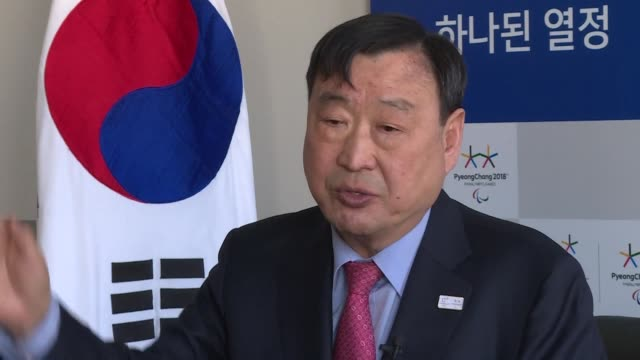 south korea's winter olympics head organiser appeals to the nucleararmed north which remains technically at war with his country and boycotted the... - südkorea stock-videos und b-roll-filmmaterial