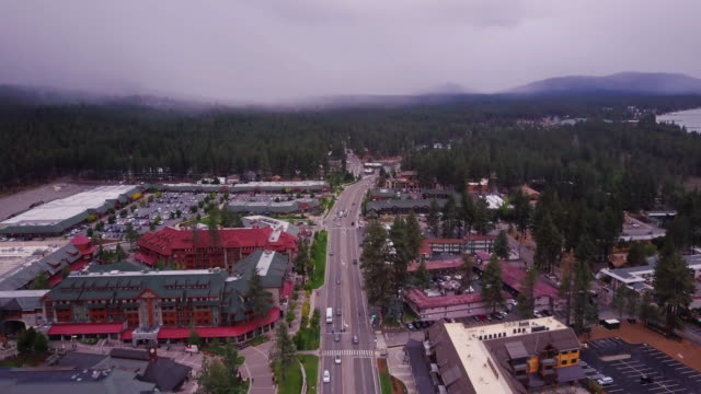 south lake tahoe, california - aerial view - californian sierra nevada stock videos & royalty-free footage
