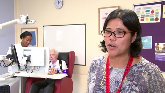 south london hospital uses virtual reality to help people recover from strokes uk london croydon university hospital karen kee interview /... - physiotherapy stock videos & royalty-free footage