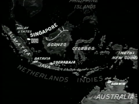 south pacific islands 'singapore netherlands indies' british flag icon near singapore. - south pacific ocean video stock e b–roll