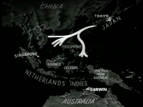 vídeos de stock e filmes b-roll de map south pacific islands 'singapore netherlands indies philippine is amp japan' animated arrows stemming from japan to islands - 1942