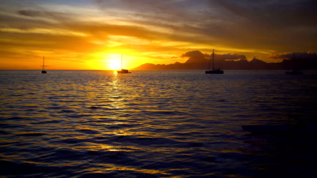 South Pacific Moorea Island from Tahiti at sunset
