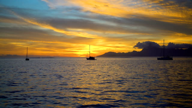 south pacific moorea island from tahiti at sunset - moorea stock videos and b-roll footage