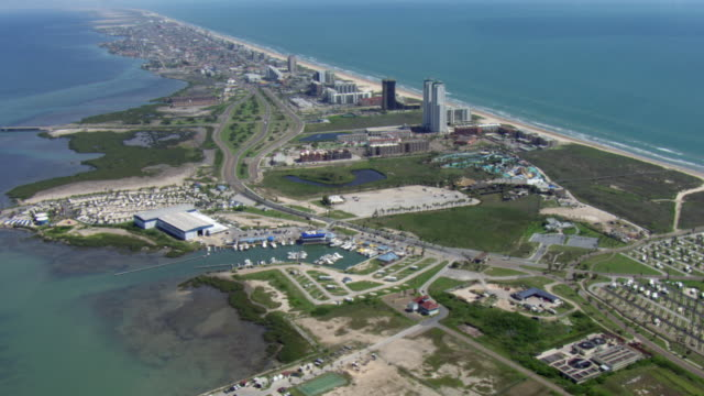 south padre island marina and hotels. - tower stock videos & royalty-free footage