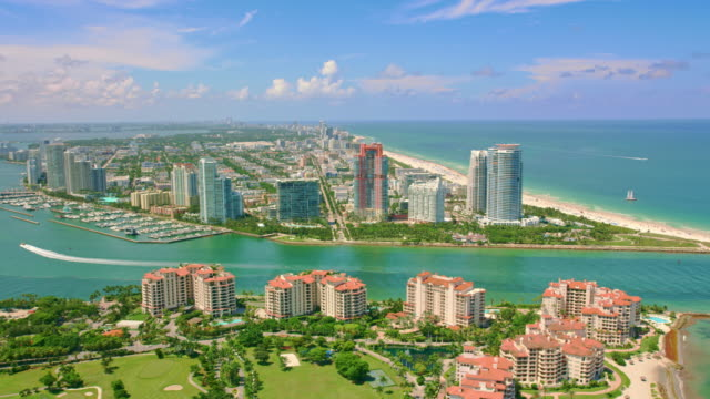 aerial south point park from above the government cut and fisher island, fl - miami stock videos & royalty-free footage