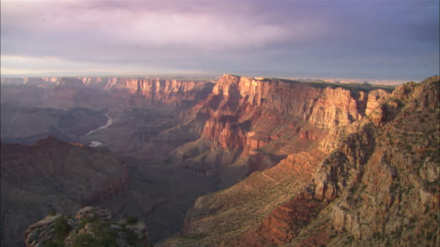 South rim of Grand Canyon with river running through bottom of canyon Available in HD.