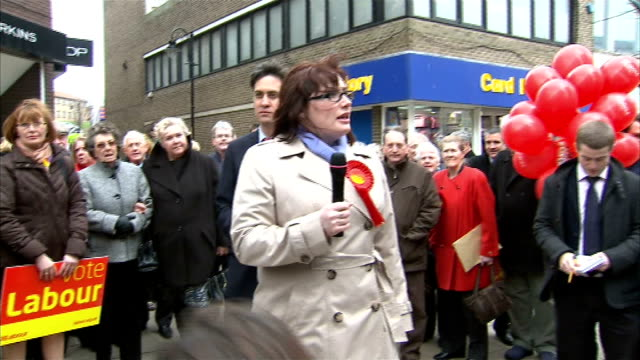 ed miliband and emma lewellbuck on campaign trail emma lewellbuck speech to labour supporters and shoppers in street sot ed miliband speech to labour... - south shields stock videos & royalty-free footage