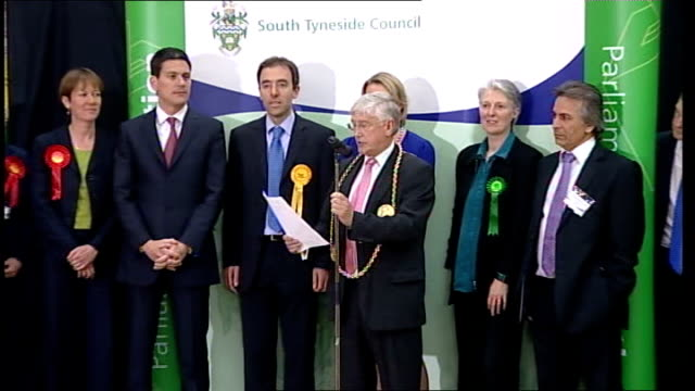int candidates onto stage for resultls returning officer making declaration of results for south shields constituency held for labour by david... - south shields stock videos & royalty-free footage
