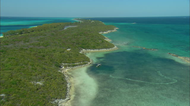 aerial south shoreline of rose island, bahamas - bahamas stock videos & royalty-free footage