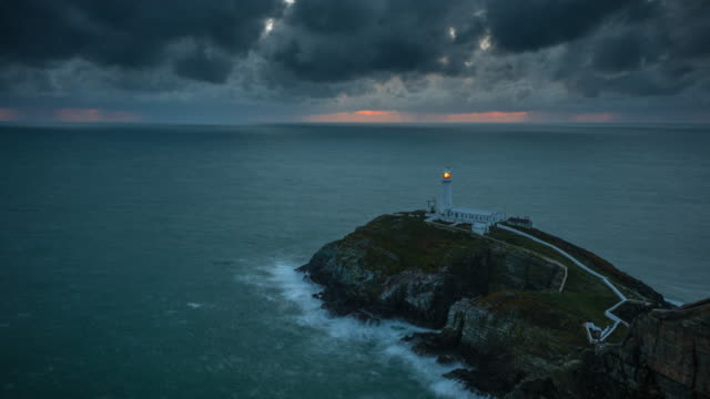 south stack lighthouse (holyhead) in wales - lighthouse stock videos & royalty-free footage
