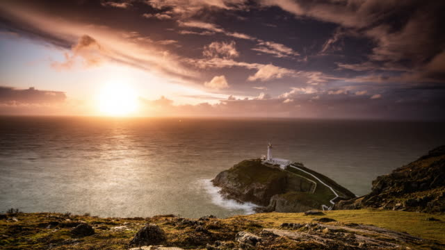south stack lighthouse near holyhead, anglesey, wales - coastline stock videos & royalty-free footage