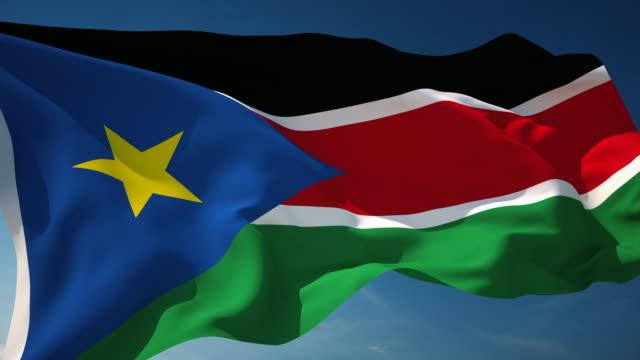 4 k süd-sudan flag-endlos wiederholbar - fahnenstange stock-videos und b-roll-filmmaterial