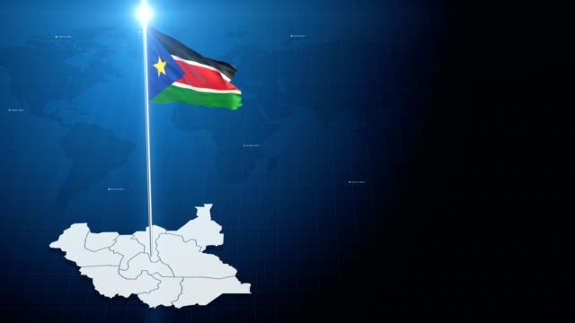 South Sudan Flag with map