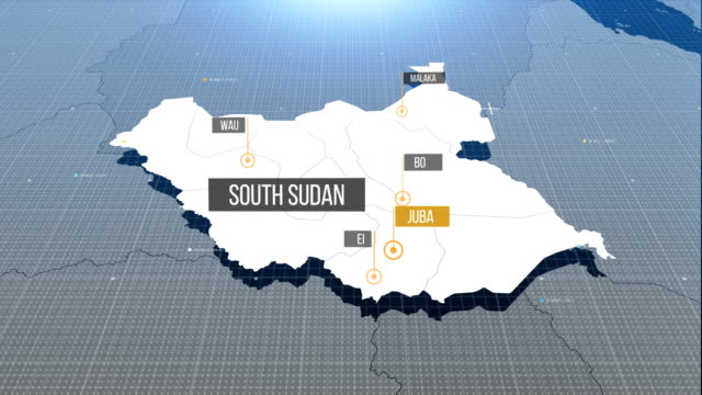 Süd-Sudan Karte mit Etikett dann mit Etikett