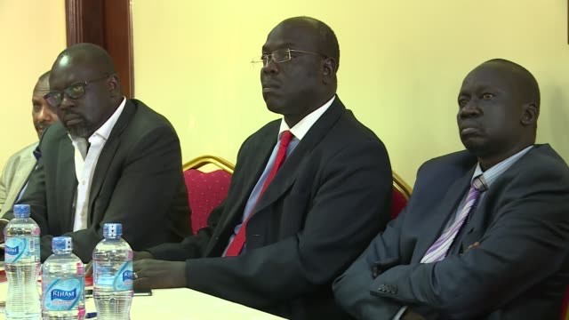 south sudan vice president riek machar in kampala addressing the media in a press conference. he was then part of the forces of change fighting... - kampala stock videos & royalty-free footage