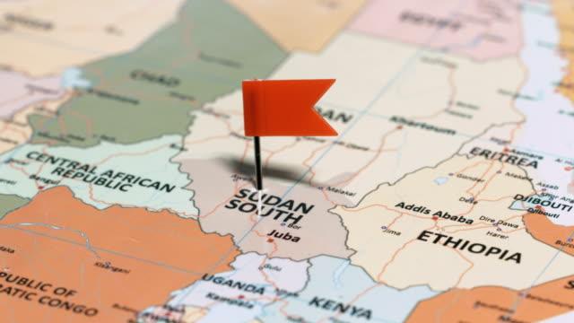 vídeos de stock e filmes b-roll de south sudan with pin - etiópia ouro
