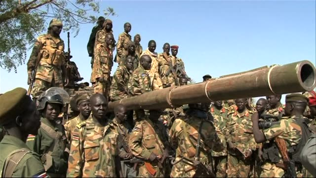 south sudan's army celebrates in bentiu after they regained control of the rebelheld oil rich town earlier this week clean ssudan soldiers in oilrich... - sudan stock videos & royalty-free footage