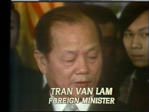 south vietnamese foreign minister tran van lam speaks about reconciliation at a press conference in paris - (war or terrorism or election or government or illness or news event or speech or politics or politician or conflict or military or extreme weather or business or economy) and not usa video stock e b–roll