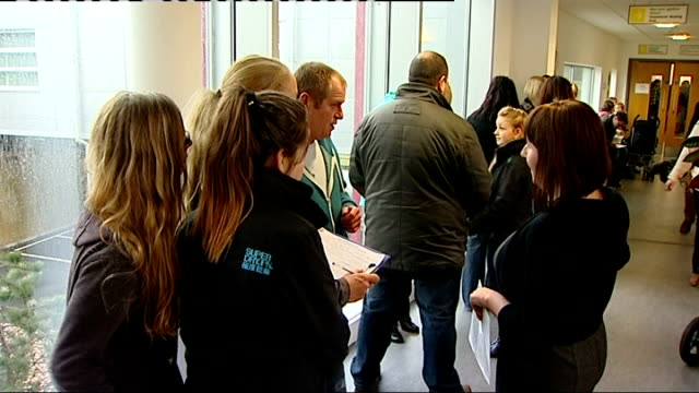 thousands of children vaccinated Gwent Teenage girls queuing Man and boy in surgery Teenage boy having measles jab Paul Hopkins interview SOT Notice...